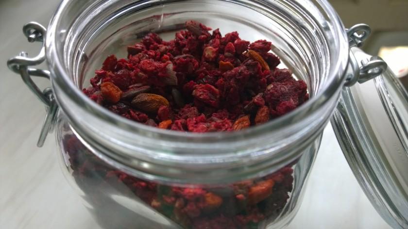 Beet granola jar